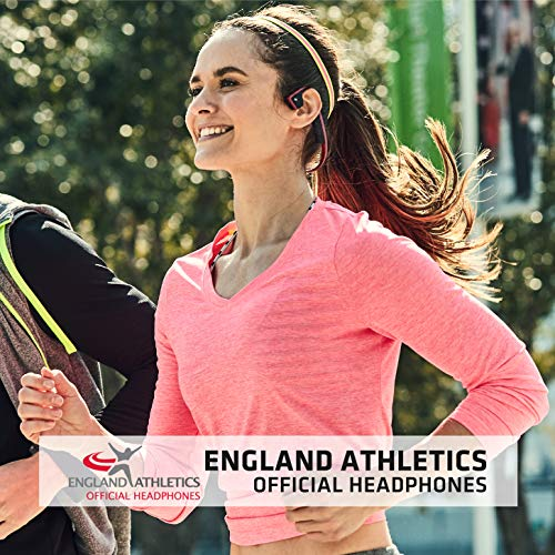 AfterShokz Trekz Titanium Open-Ear Wireless Bone Conduction Sports Running Headphones with Portable Storage Case, Canyon Red