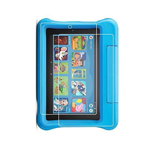 Protector de pantalla para Fire 7 Kids Edition (9ª generación de lanzamiento 2019), dureza 9H, vidrio templado para Fire 7 Kids Edition 2019 con cristal transparente sin burbujas (2 unidades)