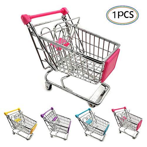 Mini-Einkaufswagen aus Metall für Spielzeug, Supermarkt, Mini-Supermarkt, Handwagen, Einkaufswagen, Aufbewahrungskorb für Kinder, Spielzeug, Haustiere, Vögel, Spielzeug, Notizbox, zufällige Farbe