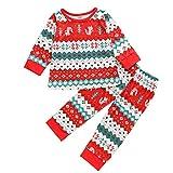 Deloito Kinderkleidung Weihnachten Kleinkind Baby Zuhause Pyjama Mädchen Jungen Karikatur Drucken Bluse Tops + Welle Geraffte Hose Zweiteiliger Anzug (Rot,100/2-3 T) -