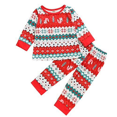 sunnymi - Conjunto de camiseta y pantalones para niños, diseño de dibujos animados y pantalones plisados rojo 120 cm