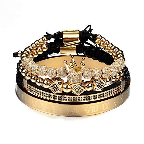 WANZIJING 4 Stück Krone Armband, Klassische handgemachte geflochtene Bettelarmband Set einstellbar Hip Hop Armband für Schmuck Geschenk,Gold