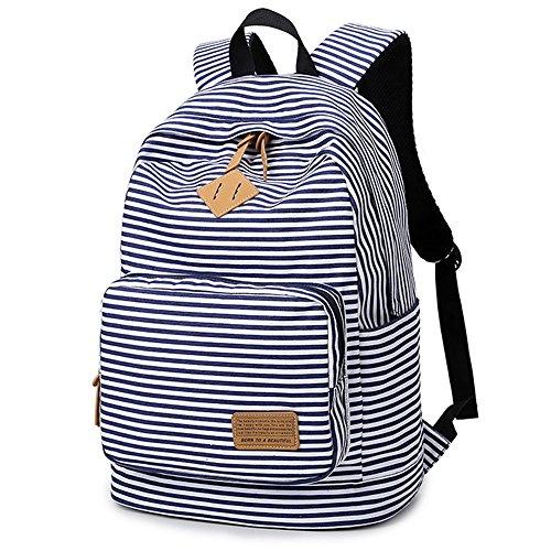JUND 2019 Frühling und Sommer Leinwand Schultasche Damen Gestreift Rucksack Schule Outdoor Freizeit Jugendliche Daypack Travel Backpack