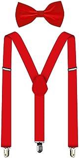 Suspenders For Men,Women Adjustable Suspends Bow Tie Set Solid Color Y Shape