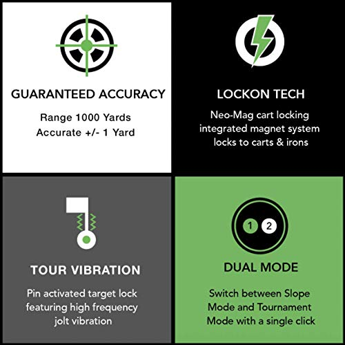 Upside Golf LOCKON Rangefinder - Worlds First Built-in Magnet, Pinseeker Lock, Slope Mode, 6X Laser Rangefinder 650+ Yards, Accurate Distance to 1 Yard, Water Resistant Tournament Legal Rangefinder