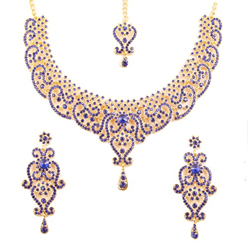 NEW! Touchstone Indian Bollywood Fine Filigree Red Faux Grand Bridal Jewelry Necklace Set In Antique Gold Tone For Women.