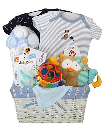 Vania's Newborn Baby Gift Basket - Owl Dou Dou, Baby Gift Sets as Christmas Gifts for Baby Shower & Newborn Baby Essentials