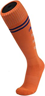 Football Socks,Long Tube Knee Sports Socks,Black Elastic Sports Stockings,Suitable for Football, Basketball and Other Sports Socks(Two Pairs),Orange,S