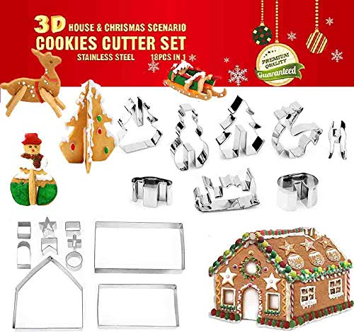 SYBF 18 PCS 3D Christmas House Cookie Cutter Set,Gingerbread House Kit,Festive Xmas House Cookie Cutter Mold Set,Stainless Steel Baking Shape Mold,Fondant Cake Decorating Tools,Haunted House Gift Box