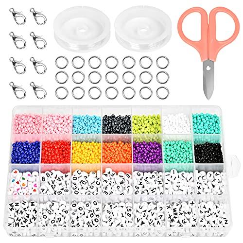 5800 Pcs Cuentas de Colores,Cuentas de Colores y Letras,Cuentas para Collares,Mini Cuentas y Abalorios Cristal para DIY Pulseras Collares Bisutería,3mm (A)
