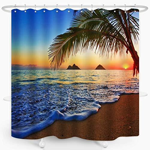 ZXMBF Ocean Coastal Hawaiian Sunrise Shower Curtain Beach Lanikai Palm Tree Colorful Offshore Hawaii Scenery Waterproof Fabric Bathroom Décor Set 72x72 Inch Blue Ivory Plastic Hooks 12 Pcs