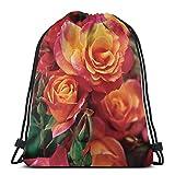 AEMAPE Bolsas con cordón Mochila de Rosas trepadoras Bolsas de Cuerda de tracción a Granel Almacenamiento Deportivo Gimnasio para Mujeres Mochila de Viaje Plegable