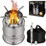 OAKVUE Portable Camping Stove – Stainless Steel Camping Cookware – Lightweight Backpack Stove...