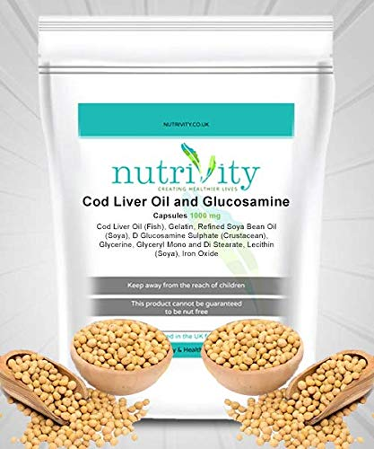 Cod Liver Oil + Gluco 1000mg Capsules Nutrivity UK for Joint Health (365)