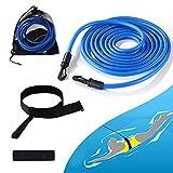 Cinturones de Entrenamiento de Natación 4M, Cinturón de Resistencia para Natación para Adultos, Niños, Profesional, Aficionado, Uso (Azul)