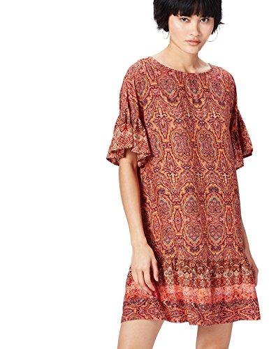 Amazon-Marke: find. Damen Mini-Boho-Kleid, Mehrfarbig (Orange Mix), 34, Label: XS