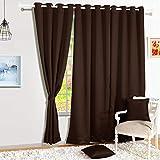 Story@Home Blackout Faux Silk Superior 2 Piece Plain Solid Door Curtains, 7 feet, Dark Brown(46*84)