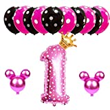 Hongkai Pink Mickey Mouse Minnie Crown Theme 1st Birthday Girl Decorations Baby First Birthday Party Supplies Pink One Happy Birthday Banner 32inch Number 1 Mylar Balloons Set