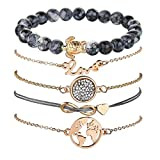 Shining Diva Fashion  Set of 5 Charm Multilayer Bracelet for Women and Girls