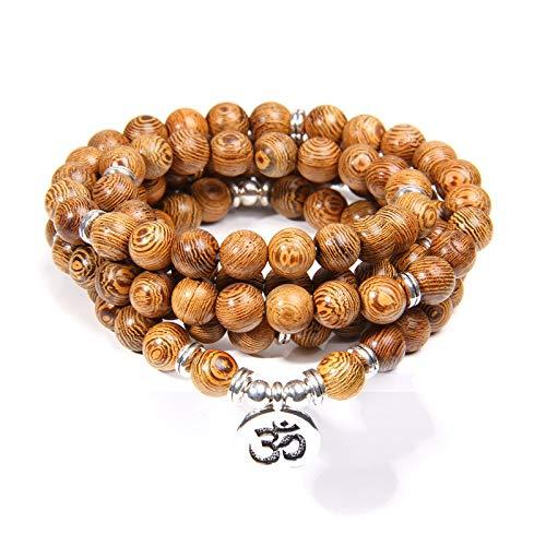 MULTI-CAPAS MALA Pulseras Men Rosary Buda Natural Wood 108 Beads Lotus Charm Pulsera de oración para mujeres Joyería afortunada ohm