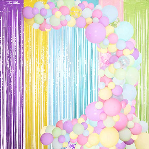 Pastel Balloons Garland Arch Kit – Assorted size Macaron Balloon Arch Kit for Birthday decoration Parties maginal Unicorn Rainbow Ice cream - Small and Large Balloons Confetti Mint Pink Balloons Candy Pastel Party Latex Balloons for Wedding Party Baby Shower Party Supplies
