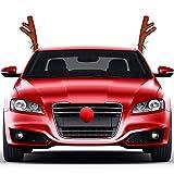 EisEyen Decoración navideña para coche, accesorio de peluche Rudolf de los renos y nariz roja para...
