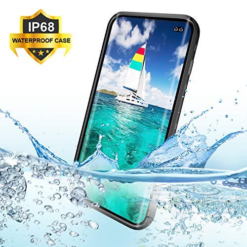 """Hülle S10 Plus Wasserdicht,BDIG 360 Grad Rundum Schutz mit Eingebautem Displayschutz Outdoor TPU Transparent Bumper Stoßfest Handyhülle Schutzhülle Kompatibel mit Galaxy S10+ ( S10 Plus 6.4\"""", Schwarz)"""