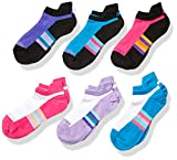 Fruit of the Loom Girls' Active Lightweight No Show Tab Socks 6 Pair, White Assorted, Shoe Size: 4-10