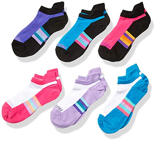 Fruit of the Loom Girls' Active Lightweight No Show Tab Socks 6 Pair, White Assorted, Shoe Size: 10.5-4