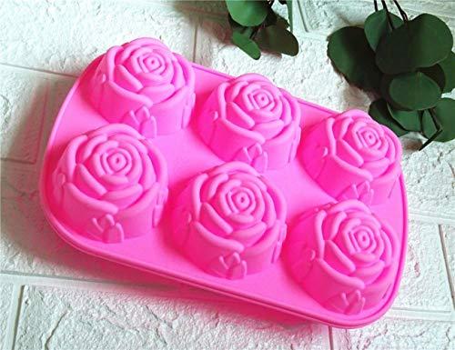 Savon Fabrication 6 Roses Silicone Cake Mold Crème Glacée Pudding Gelée Moule Savon Produits Production Moule De Bonne Ductilité De Cuisson Outil