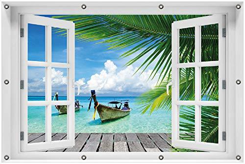 Wallario Garten-Poster Outdoor-Poster 100 x 150 cm mit Fenster-Illusion: Sonnenboot in der Karibik in Premiumqualität, für den Außeneinsatz geeignet