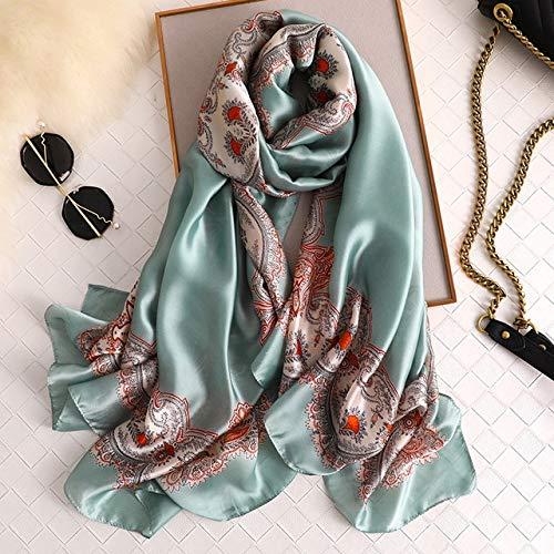 YDMZMS damesjaal van zijde, lang, zacht, jassen en mantel, eenvoudige mouwen, voor dames, marineblauw, bedrukt, kraag, winter, Hijab FS425, groen