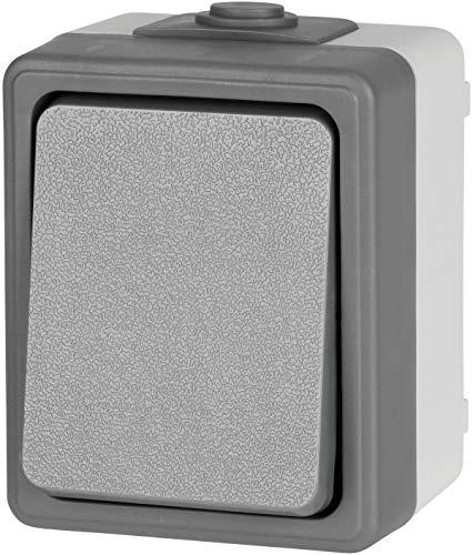 Aufputz Feuchtraum Wechselschalter IP44 - Serie FX1 - dunkel-grau