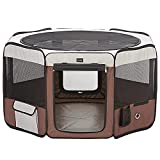 DONORO Dog Playpen 29' Portable Pet Play Pens for Small Dog/Cat/Rabbit/Chicks, Cat Playpen Indoor/Outdoor with Carring Case, Removable Zipper Top and Bottom