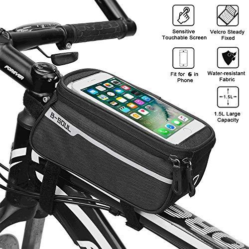 Bike Frame Bag, Bike Top Tube bag, Bicycle Phone Holder Waterproof Front Tube Bag Touch Screen Window With Headphone Hole Suitable for Mountain Bike Road Bike Mobile phone under 6inches - black