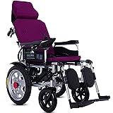 WMMY Faltbarer Elektrischer Rollstuhl mit Polymer Li-Ion Battery, Leichter elektrischer Elektrorollstuhl Reclining, für ältere und behinderte Menschen,Lila