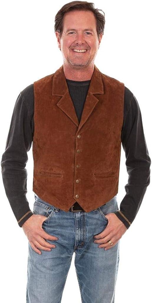 Scully Men's Cinnamon Boar Suede Aztec Back Snap-Front Knit Vest Big