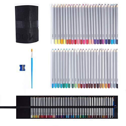 OOKU Artist Pro Watercolor Pencils Set 48 Colors / 51 Pc Full Kit   Wet Water Color Pencils Set / Dry Coloring Pencils Set for Adults, Kids   w/BONUS Wool Pencil Wrap, Watercolor Brush, Sharpener