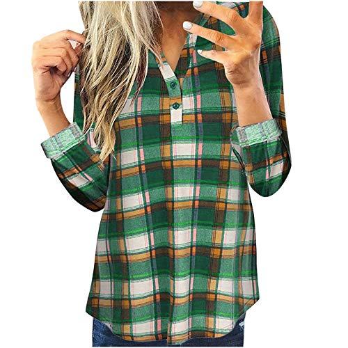 Bluse Shirt Frauen Tops Casual Langarm Plaid Slim Shirt (XXL,3Grün)