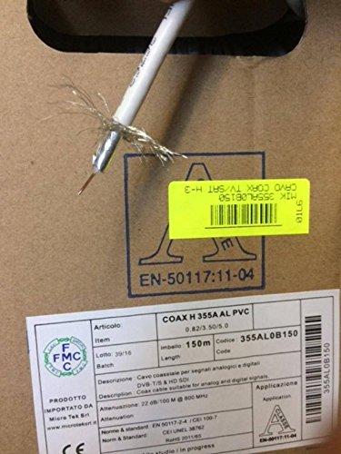 Micro tek Cable coaxial para televisión por satélite A clase 150mt cable 5 mm