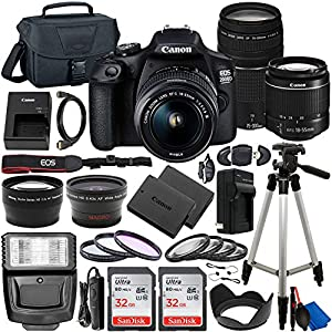 Canon EOS 2000D (Rebel T7) DSLR Camera with EF-S 18-55mm DC III & 75-300mm III Lenses & Deluxe Accessory Bundle…