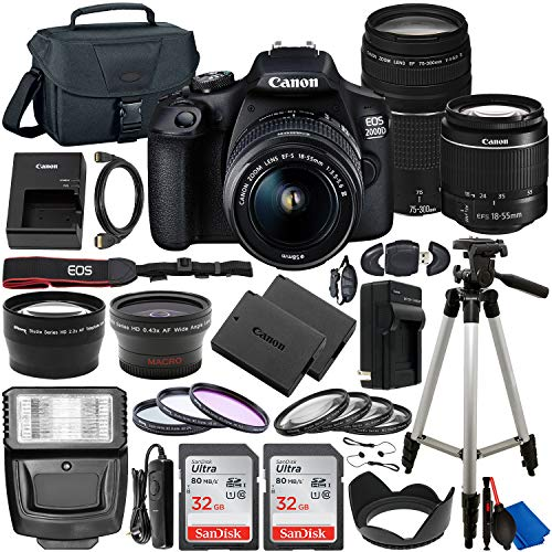 Canon EOS 2000D (Rebel T7) DSLR Camera with EF-S 18-55mm DC III & 75-300mm III Lenses & Deluxe Accessory Bundle – Includes: 2X SanDisk Ultra 32GB SDHC Memory Card, Spare Battery, Carrying Case & More