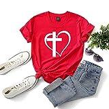 Rugby clothing boutique Q Les Filles T-Shirt Amour Croix de Mode Impression col Rond Manches Courtes T-Shirt, Taille Plus été T-Shirt de Femmes (Color : Red, Size : XXXL)
