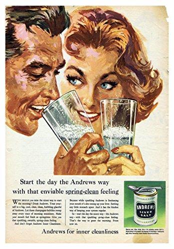 Andrews Poster voor binnen netheid lever zout foto vintage oude reclame kunstwerk klassieke ouderwetse commerciële