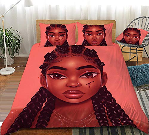 Lvvsovs 3DBeautiful fashion girl Bedding Set for Boys, Ultra Soft and Breathable Microfiber Comforter Cover with Zipper Closure, Twin Size,3PCS,1 Duvet Cover+2 Pillow Double 200 x 200 cm
