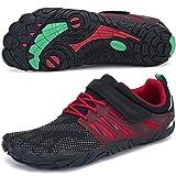 SAGUARO Hombre Mujer Zapatillas de Training Yoga Entrenamiento Gym Interior Transpirables Zapatos Correr Barefoot Resistentes Comodas Zapatos Gimnasio Asfalto Playa Agua Exterior(058 Rojo, 43 EU)