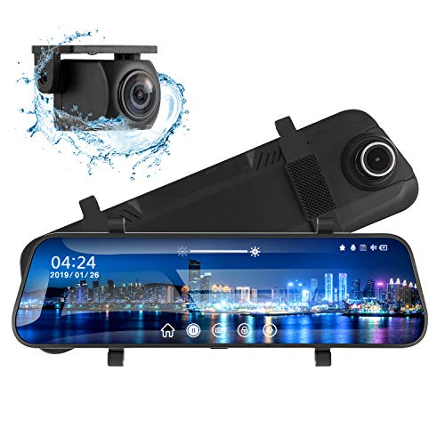 "Mirror Dash Cam for Cars 10"" Backup Camera 1080P Dual Dash Cam Front and Rear Stream Media Touch Screen with Enhanced Night Vision G-Sensor Parking Monitor 32GB SD Card"