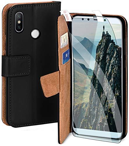 moex Handyhülle für Xiaomi Mi A2 - Hülle mit Kartenfach, Geldfach & Ständer, Klapphülle, PU Leder Book Hülle & Schutzfolie - Schwarz