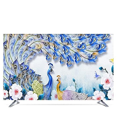 LANCYG TV Cubierta Protectora, Monitor Polvo Funda 19'- 80' Cubierta de Capucha Decorativa de 22 Pulgadas de 75 Pulgadas para TV de Pantalla TV Cortina de PC Flor Impermeable