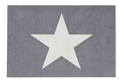 Gift Company - waschbare Fußmatte, Fußabtreter, Türmatte - Sterne, Stars - Grau/Weiß - 50 x 75 cm